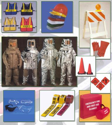 Collage of safety equipment